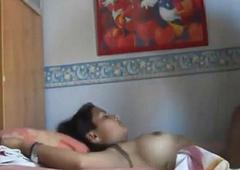 Indian white wife having awe-inspiring sex atop touching her boyfriend