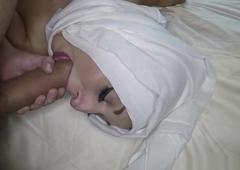 Butt licking arabian gets a chew of cream