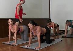 Cfnm yoga mummy group closeup swapping cum