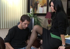 Stockinged india summer going to bed on the desk